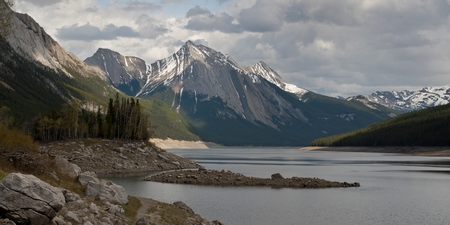 Medicine Lake with mountain in background, Jasper National Park, Alberta, Canada