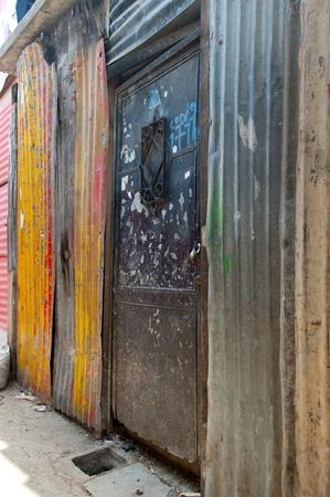 Houses made with corrugated iron in a slum area, Colonia Landivar, Guatemala City, Guatemala Imagens