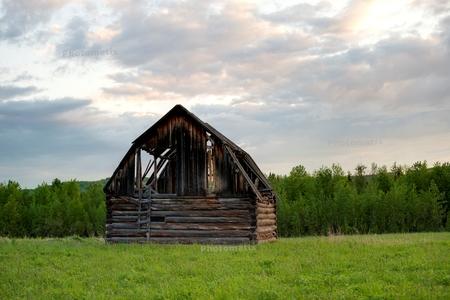 Abandoned barn in a field, Northern Alberta, Alberta, Canada