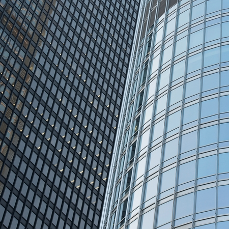 Low angle view of office buildings, Chicago, Cook County, Illinois, USA