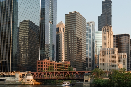 Skyscrapers at the waterfront, Sears Tower, North Canal Street, Chicago River, Chicago, Cook County, Illinois, USA
