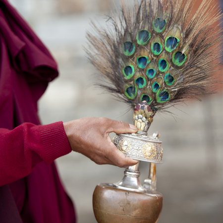 Holy water vase at the National Memorial Chortan in Thimpu, Bhutan
