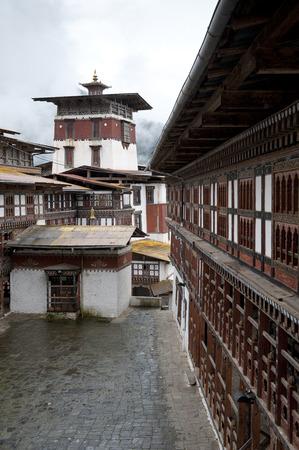 Facade of Trongsa Dzong, Trongsa, Bhutan Banco de Imagens - 97871059