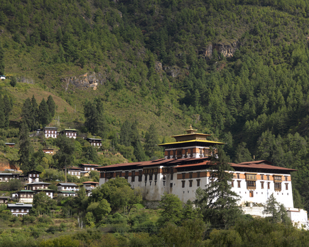 Houses on a mountain, Paro Valley, Paro District, Bhutan