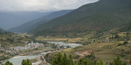 High angle view of Punak Tsang Chhu River, Punakha Valley, Punakha District, Bhutan