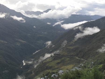 Clouds over mountains, Trongsa District, Bhutan