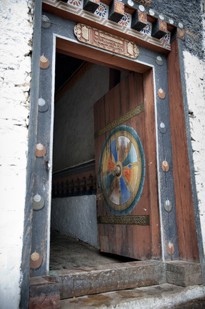Architectural detail of a doorway at Trongsa Dzong, Trongsa, Bhutan