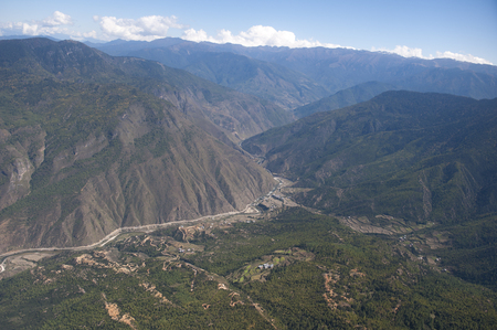 High angle view of mountains, Paro Valley, Paro District, Bhutan Banco de Imagens - 97795989