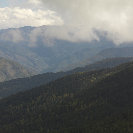 Panoramic view of mountain range, Bhutan