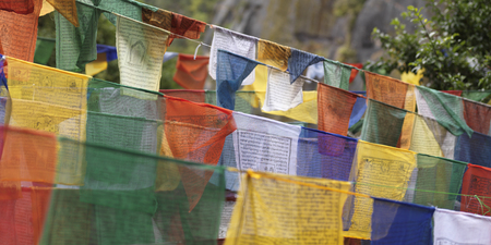 Prayer flags at Taktsang Monastery, Paro Valley, Paro District, Bhutan