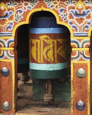 Prayer wheels at a temple, Bhutan