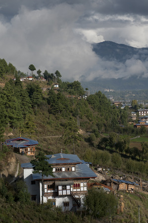 High angle view of a town, Chokhor Valley, Bumthang District, Bhutan Banco de Imagens