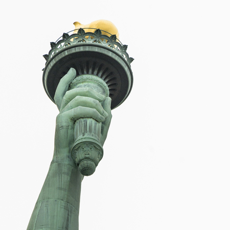 Low angle view of the Statue of Liberty Torch, Liberty Island, Manhattan, New York City, New York State, USA