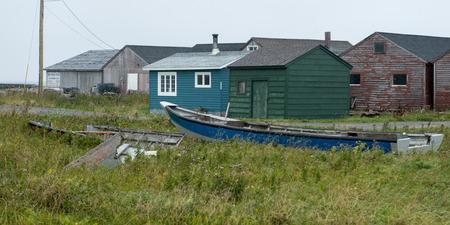 Buildings at fishing village, Sally's Cove, Gros Morne National Park, Newfoundland and Labrador, Canada 報道画像