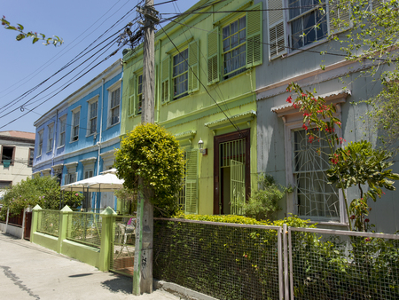 Facade of colorful houses, Valparaiso, Chile