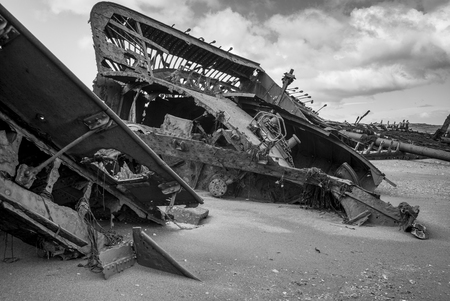 Ruins of British clipper Ambassador on the beach, Estancia San Gregorio, Patagonia, Chile Stock Photo