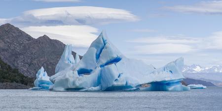 View of iceberg in lake, Grey Glacier, Grey Lake, Torres del Paine National Park, Patagonia, Chile
