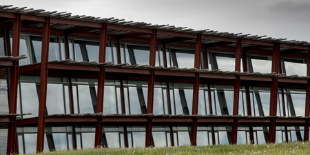 Low angle view of Singular Hotel, Puerto Natales, Patagonia, Chile Imagens