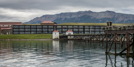 Singular Hotel with mountain range in the background, Puerto Natales, Patagonia, Chile