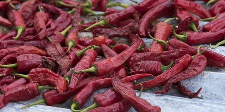 Red chilies for sale at market, Paro, Paro District, Paro Valley, Bhutan
