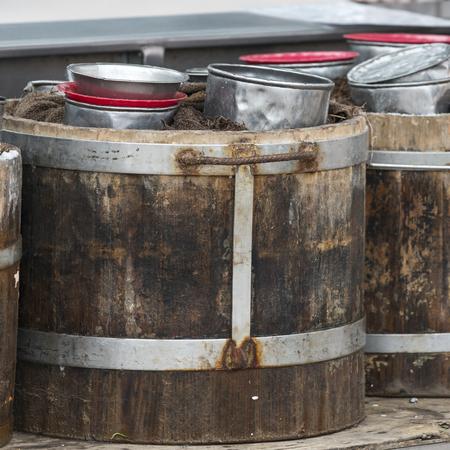 Close-up of pots in barrels, Centro, Dolores Hidalgo, Guanajuato, Mexico Stock Photo