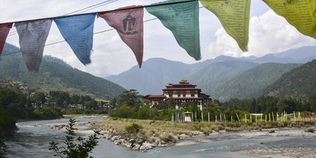 Puna Tsang Chhu river with monastery in the background, Punakha Dzong, Punakha, Punakha Valley, Punakha District, Bhutan