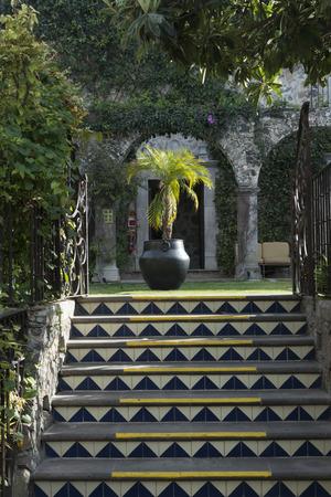 Entrance stairway of building, San Miguel de Allende, Guanajuato, Mexico