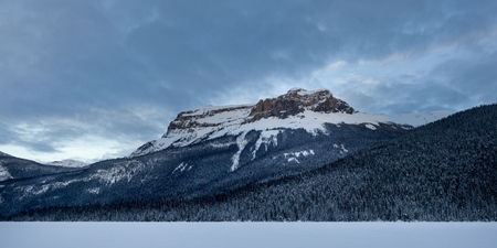 Snow covered landscape with mountains in winter, Emerald Lake, Yoho National Park, British Columbia, Canada 写真素材