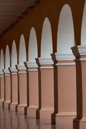 Columns and archways along corridor, Centro, Dolores Hidalgo, Guanajuato, Mexico
