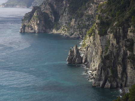 Elevated view of coast, Amalfi Coast, Salerno, Campania, Italy Stock Photo