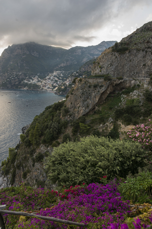View of wildflowers at coast, Amalfi Coast, Salerno, Campania, Italy