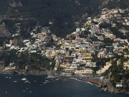 View of a town at coast, Amalfi Coast, Salerno, Campania, Italy Stock Photo