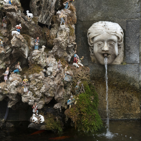 Fountain with figurines, Amalfi, Amalfi Coast, Salerno, Campania, Italy 写真素材
