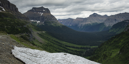 Mountain peak against cloudy sky, Going-to-the-Sun Road, Glacier National Park, Glacier County, Montana, USA