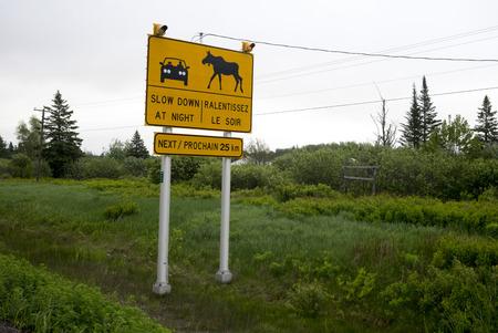 Warning sign at farm, Port Elgin, New Brunswick, Canada