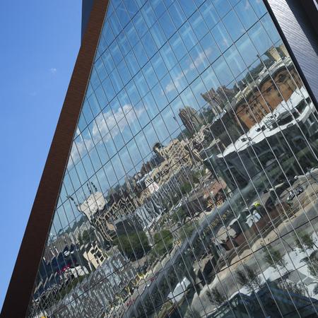 Reflections on modern glass building, U.S. Bank Stadium, Minneapolis, Hennepin County, Minnesota, USA