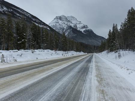 View of road leading towards mountain, Jasper, Jasper National Park, Alberta, Canada 免版税图像