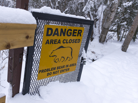 Warning sign in a forest, Liard River Hot Springs Provincial Park, Northern Rockies Regional Municipality, British Columbia, Canada Stok Fotoğraf