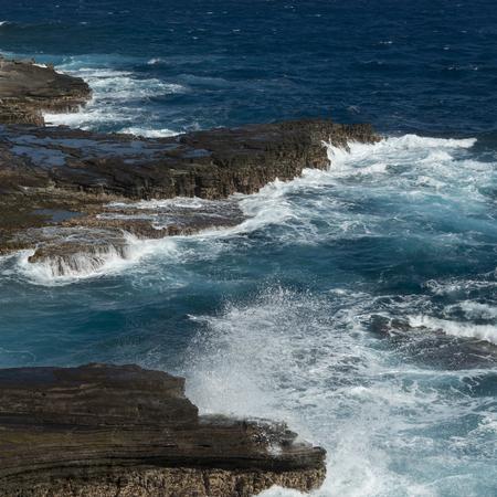 Rock formations on the coast, Makapuu Point, Oahu, Hawaii, USA Imagens