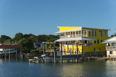 Buildings at the waterfront, Utila, Bay Islands, Honduras
