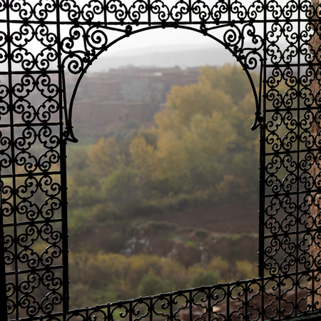 Grillwork at Telouet Kasbah, Ouarzazate, Morocco 版權商用圖片