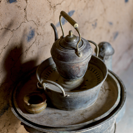 Close-up of antique metal products, Morocco Stock Photo