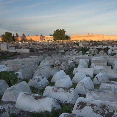 Graves at Jewish Cemetery, Miaara, Mellah, Medina, Marrakesh, Morocco Stock Photo
