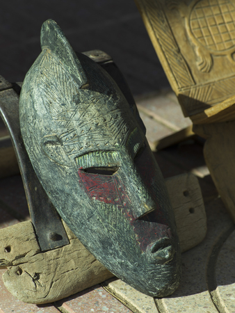 Close-up of an antique mask, Tamzawrout, Morocco Stock Photo