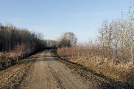 Dirt road passing through Hecla Grindstone Provincial Park, Manitoba, Canada Imagens