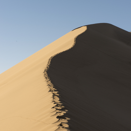 Sand dune at Mingsha Shan, Dunhuang, Jiuquan, Gansu Province, China Stock Photo