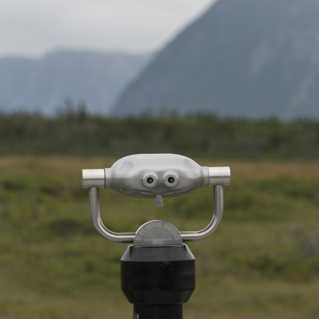 Coin-operated binoculars, Western Brook Pond, Norris Point, Gros Morne National Park, Newfoundland And Labrador, Canada Stock Photo