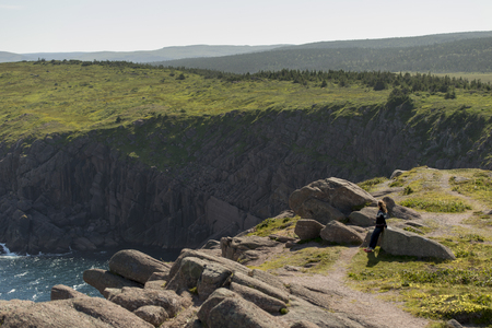 Woman at Cape Spear, St. John's, Newfoundland And Labrador, Canada