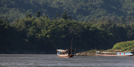 Tourboat in River Mekong, Laos Stock fotó