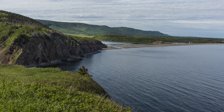 Scenic view of coastline, Cabot Trail, Cape Breton Highlands National Park, Cape Breton Island, Nova Scotia, Canada